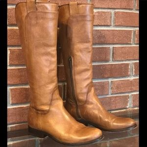 Frye Melissa Leather Tan Tall Riding Boots